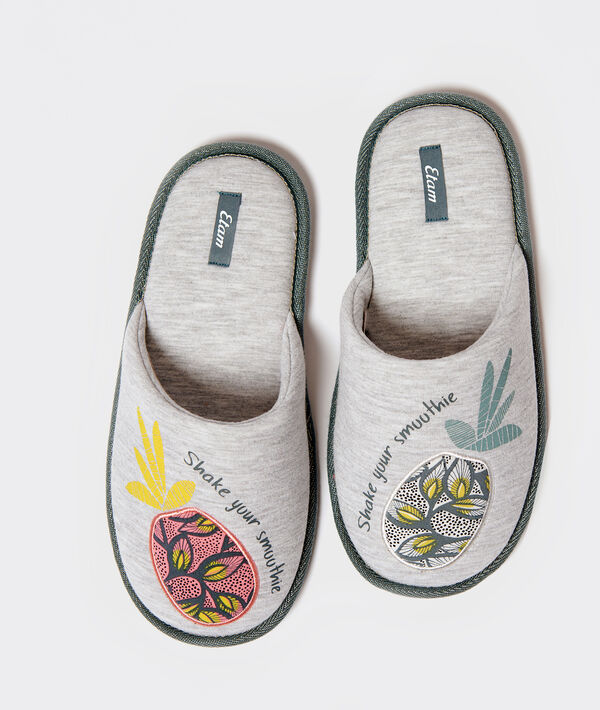 "Chaussons imprimé ananas ""Shake your smoothie"";${refinementColor}"