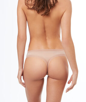 Bi-material thong powder pink.