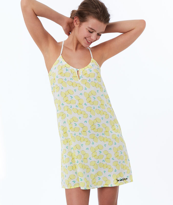 Lemon print nightdress yellow.
