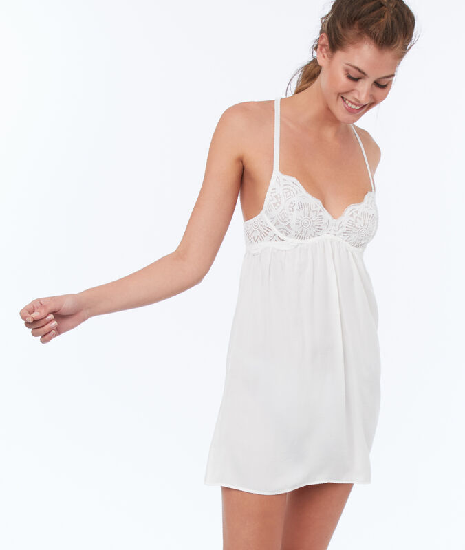 Nightie with lace padding, racer back ecru.