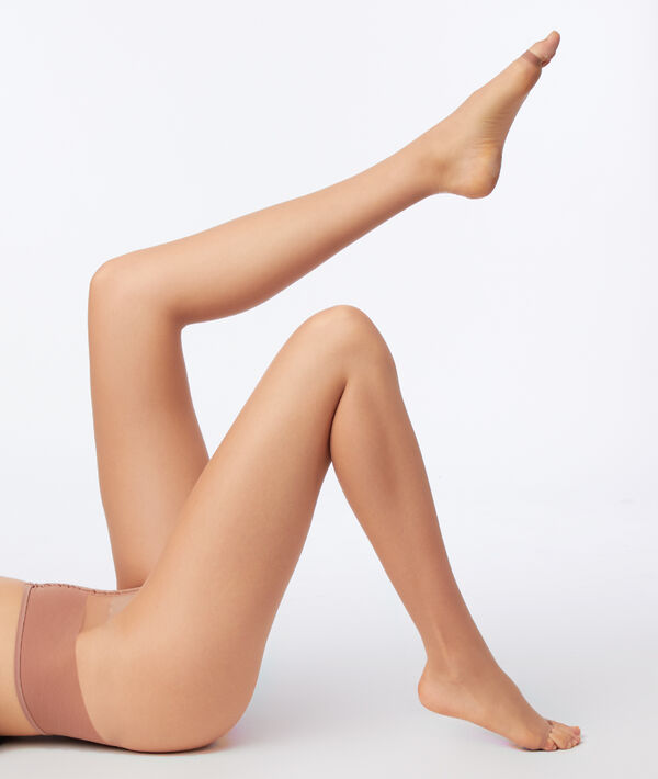 Bare legs effect ultra-sheer tights with open toe;${refinementColor}