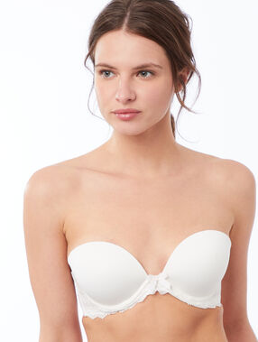 Microfiber and lace bandeau bra, removable straps ecru.