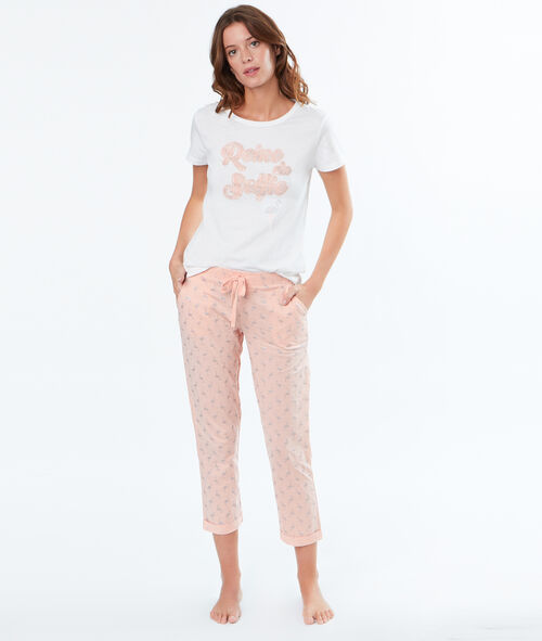 Pantalon imprimé flamants roses pailletés