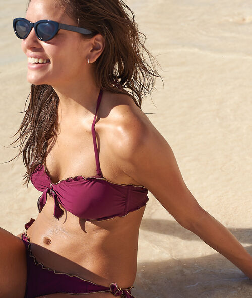 Triangle bikini top, golden scallop hems