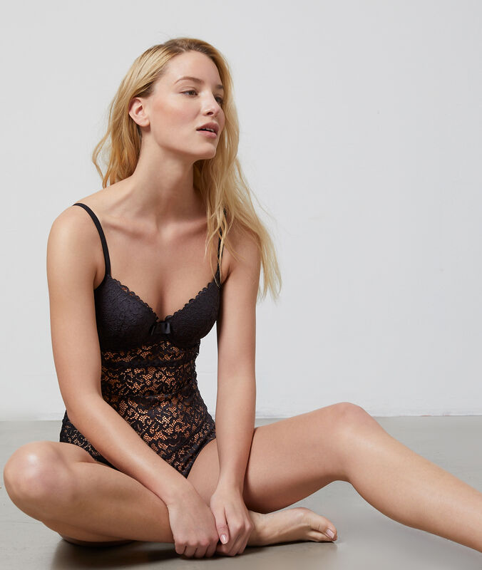Underwired lace fabric bodysuit black.