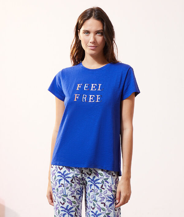 "Top manches courtes ""Feel free"";${refinementColor}"