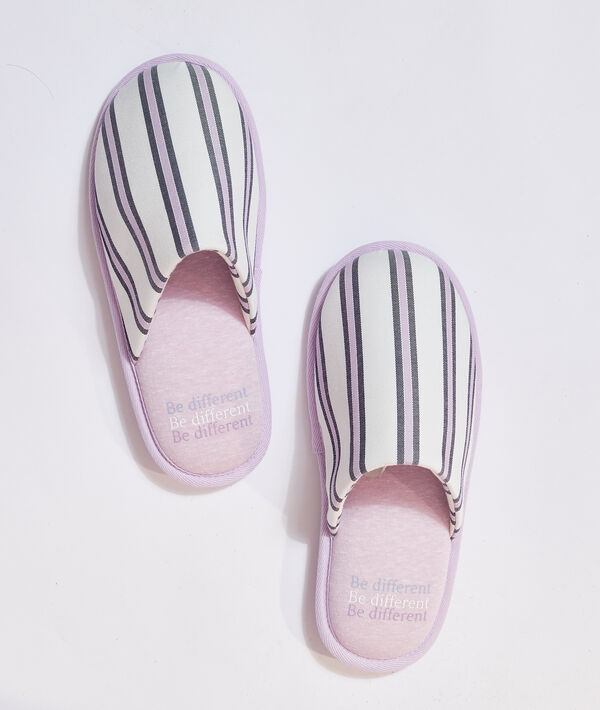 "Mules à rayures ""Be different"";${refinementColor}"