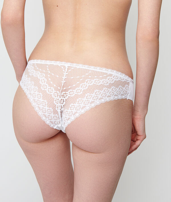 Microfibre and lace hipster briefs;${refinementColor}