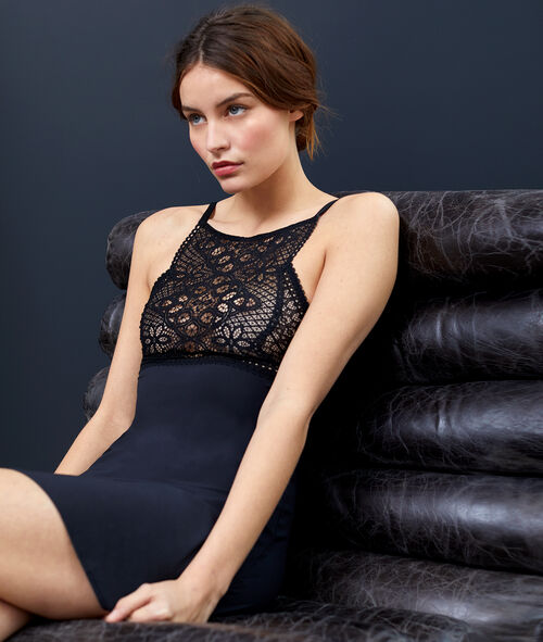 All-lace front panel nightdress