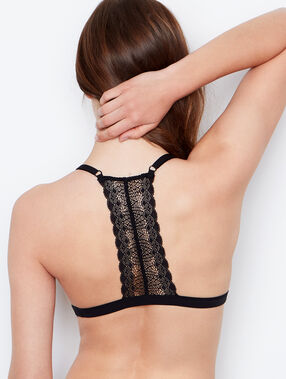 Lace, racer back, non-wired triangle bra black.