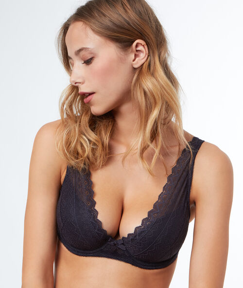 Bra No. 6  -  Padded triangle bra in lace, D cup