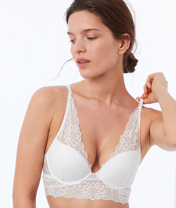 Bra no. 3 - Lace triangle push-up bra with floral basque