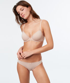 Plain briefs, openwork trim blush.