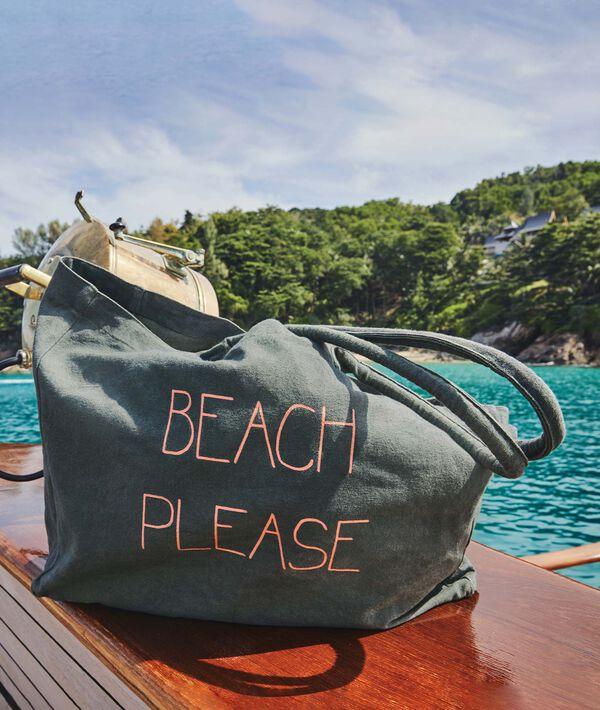 "Cabas de plage ""Beach Please"";${refinementColor}"