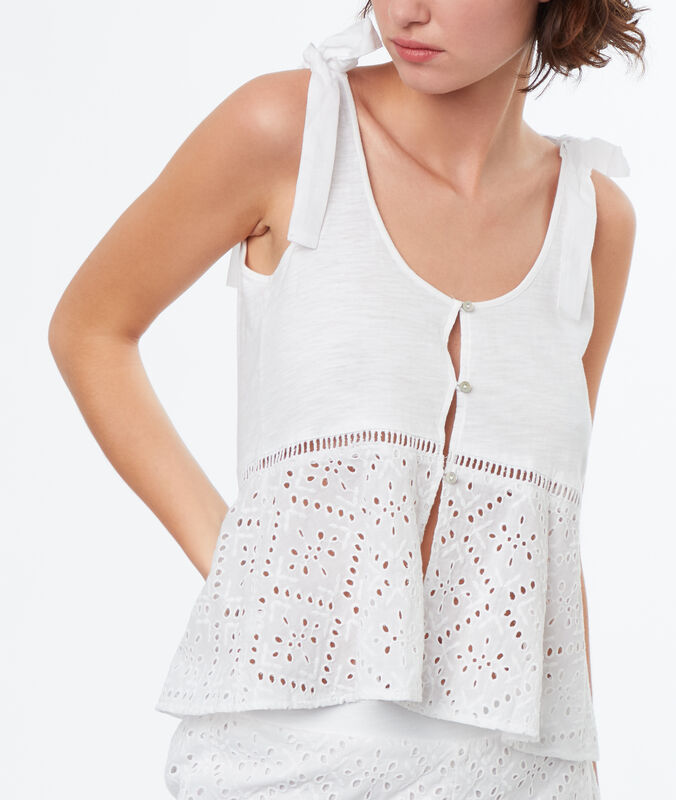 Top broderie anglaise blanc.