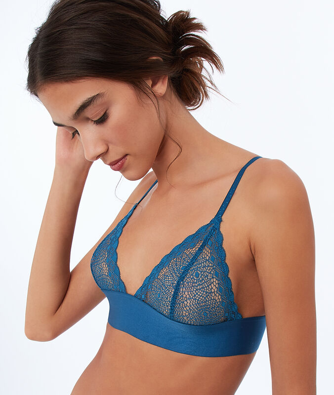 Lace triangle bra with underbust band petroleum blue.