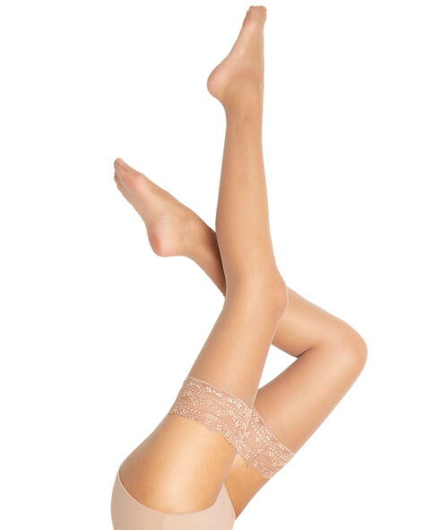Satin effect hold-up stockings