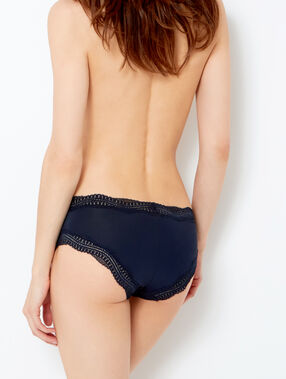 Ornate lace-edged shorts midnight blue.