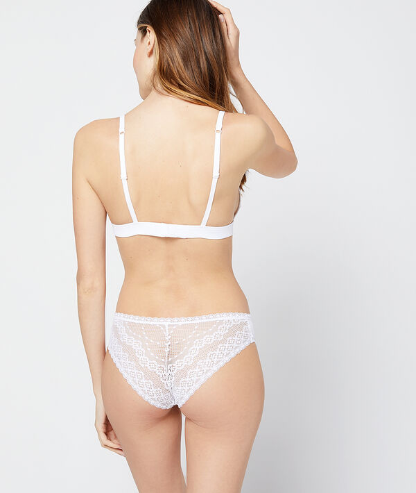 Microfibre and lace hipster briefs