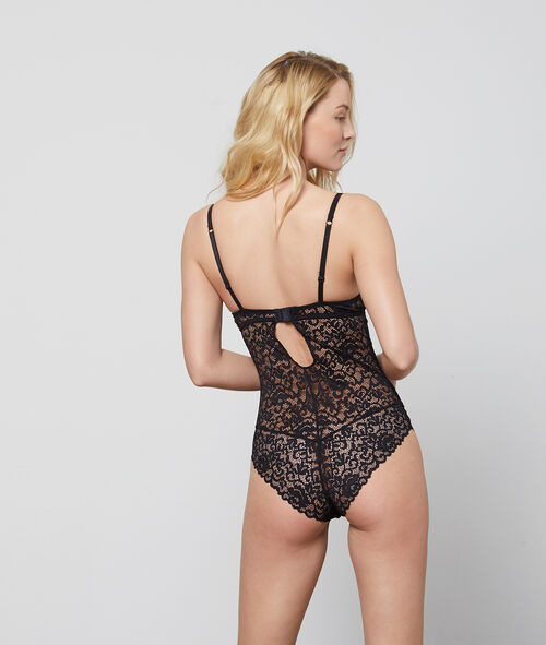 Underwired lace fabric bodysuit