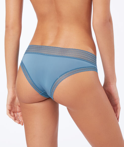 Microfibre and lace brazilian briefs with rhinestone