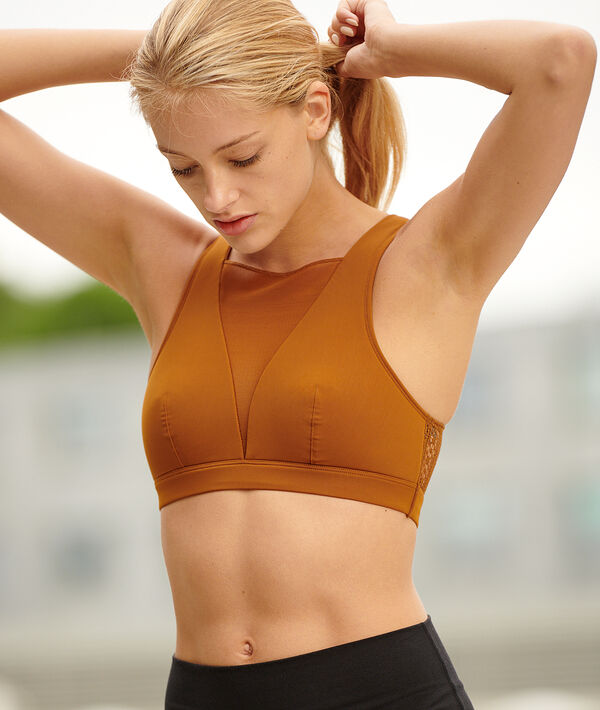 Active bra top with lace details - medium support;${refinementColor}