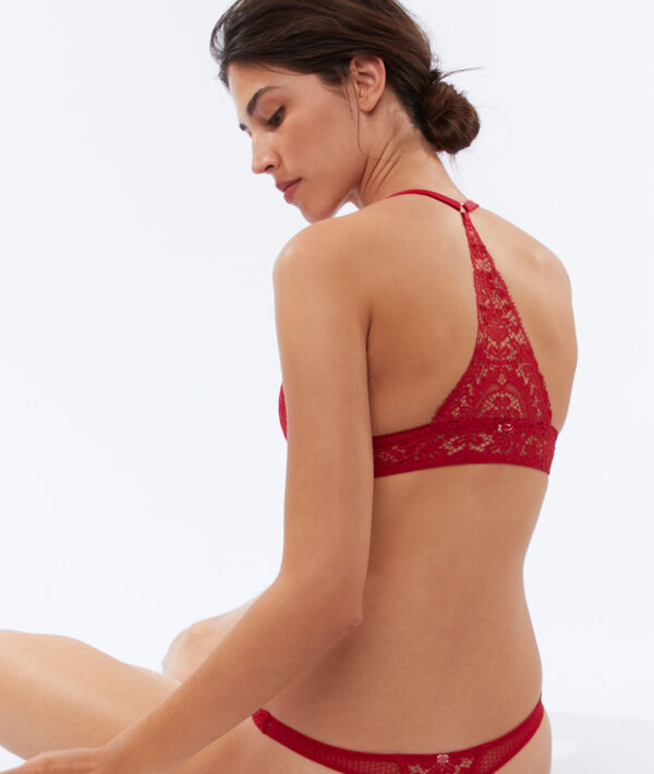 Bra no. 2 - lace plunging push-up, structured racer back;${refinementColor}