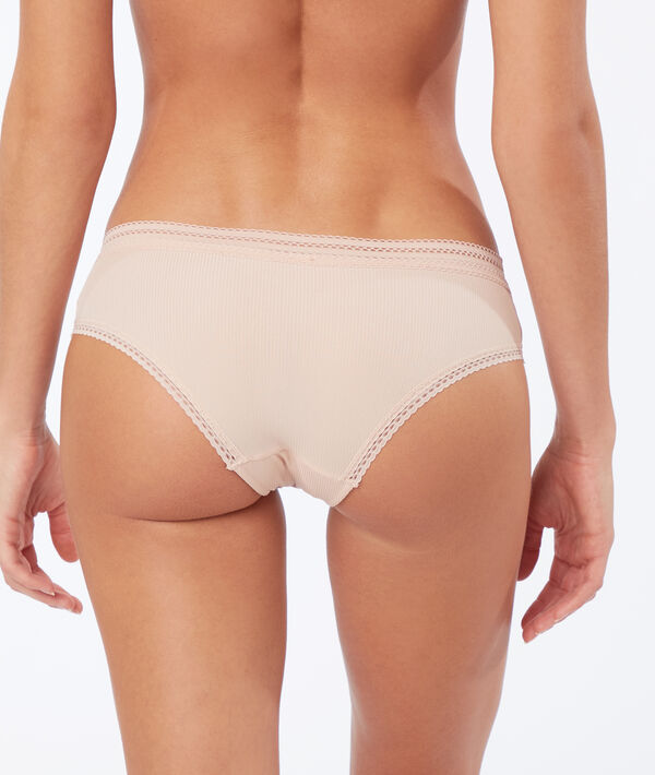 Lace trim micro brazilian knickers;${refinementColor}