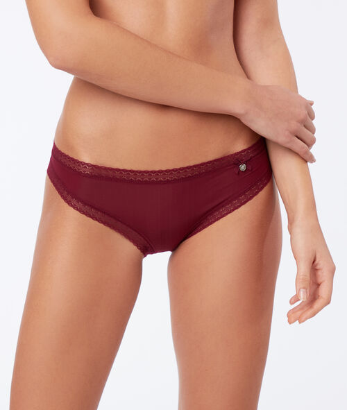 Lace trim microfibre knickers