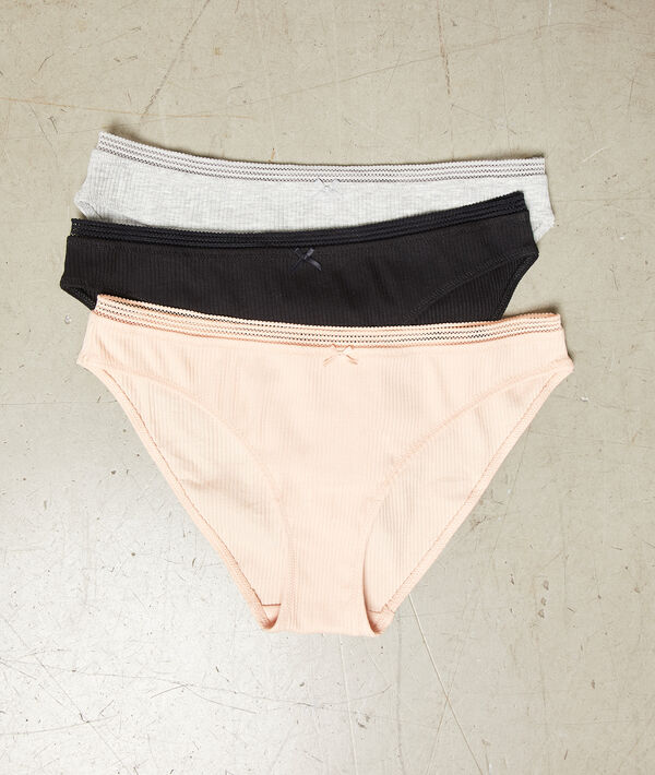 3 pack ribbed knickers;${refinementColor}