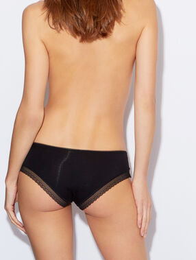 Soft, lace-edged, modal briefs black.
