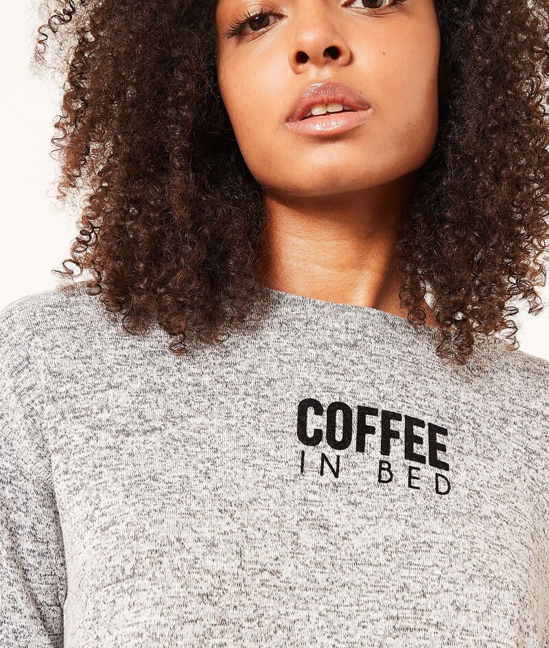 """Top manches 3/4 """"Coffee in bed"""";${refinementColor}"""