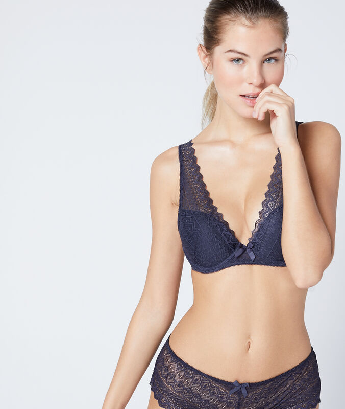 Bra no. 3  -  push-up triangle bra anthracite.
