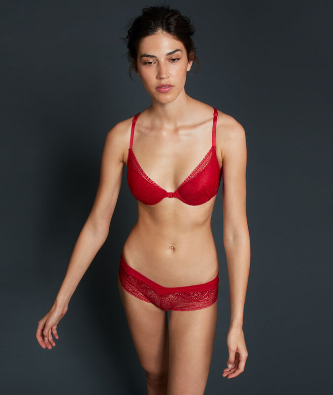 Floral lace microshorts red.