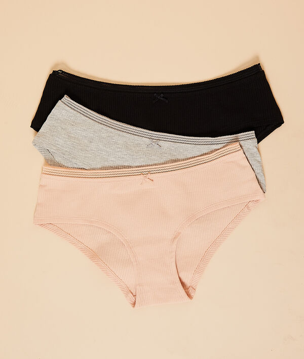 3 pack ribbed short briefs;${refinementColor}