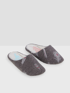 Feather print mule slippers grey.